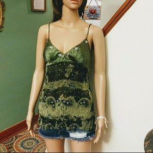 Green floral print camisole by FANG Sz-M